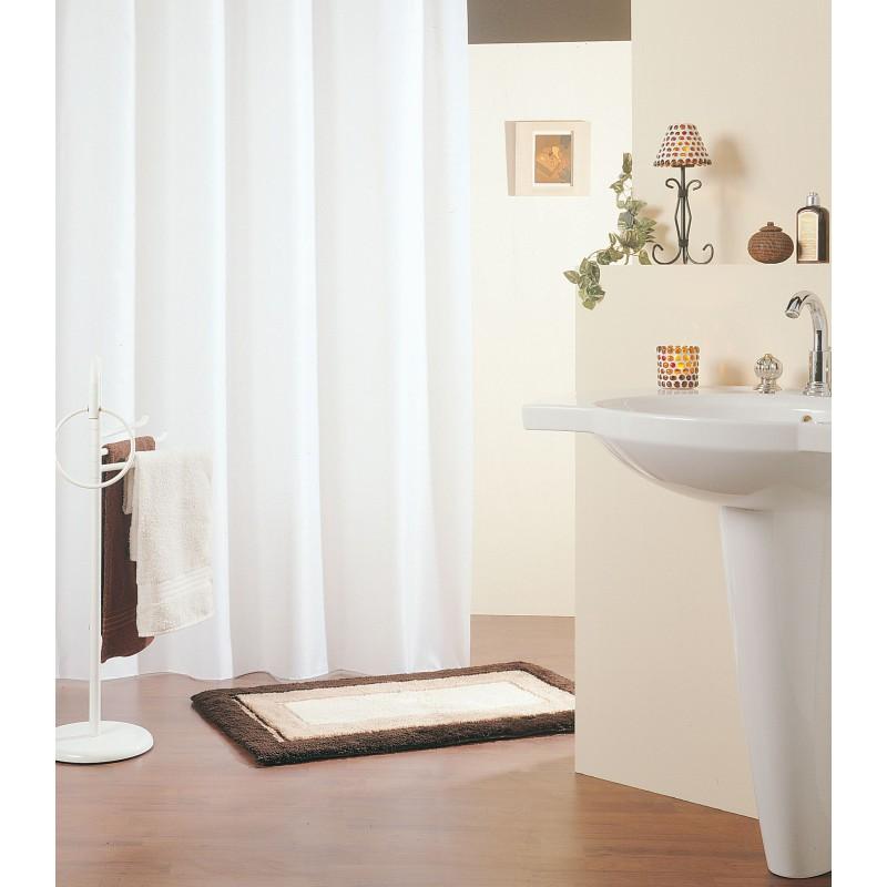 Rideau de douche emaux 120 x 200 cm blanc manusec for Rideau de douche plombe