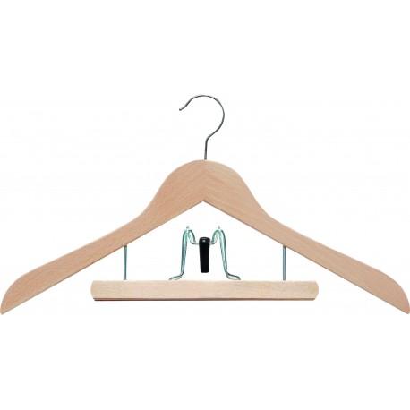 cintre combin pince en bois naturel carton de 50 pi ces mecopince. Black Bedroom Furniture Sets. Home Design Ideas
