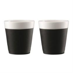 Set de 2 mugs en porcelaine avec bande de solicone noire 0.17 L