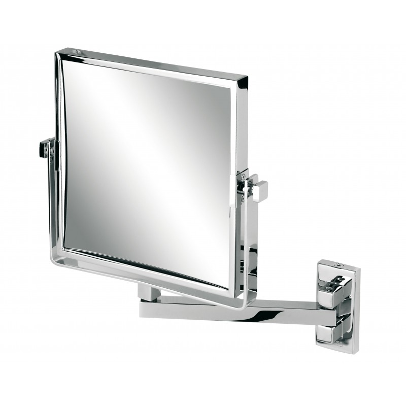 Miroir r tro sur bras simple carr double face g1080 for Miroir double face
